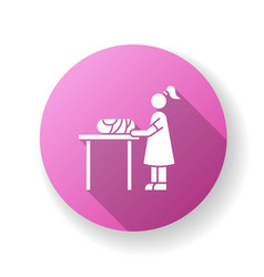 Changing table pink flat design long shadow glyph vector