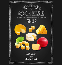 Cheese various types collection cheese shop vector