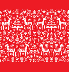 christmas folk art seamless pattern vector image