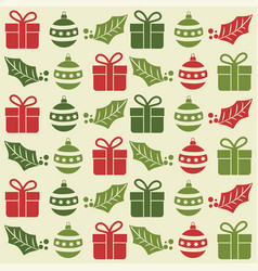 christmas seamless pattern with balls gifts and vector image