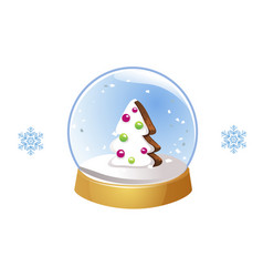 christmas snow globe with snowflakes isolated on vector image