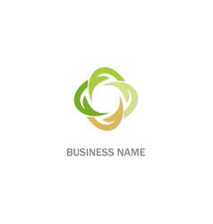 circle abstract green leaf logo vector image