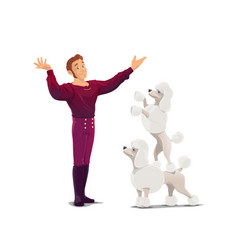 Circus animals trainer with poodles cartoon vector