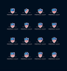 Collection american logos and shield vector