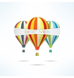 Colorful hot air balloons with discovery word vector