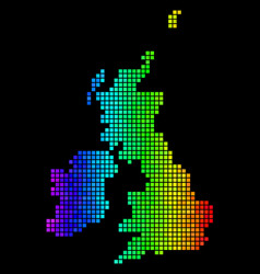 colorful pixelated great britain and ireland map vector image