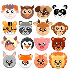 Cute cartoon animals head round shape vector