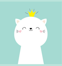 cute cat kitten face head icon kawaii kitty vector image
