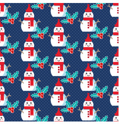 cute christmas pattern with snowman vector image
