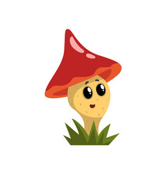 cute funny mushroom character with red cap and vector image