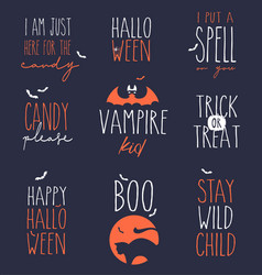 cute halloween design elements set vector image