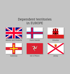 dependent territories flag collection vector image