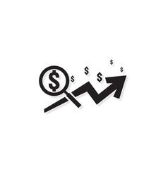 dollar increase revenue icon money symbol with vector image