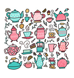 doodle style teapot and tea cups collection vector image