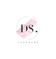 Ds watercolor letter logo design with circular vector