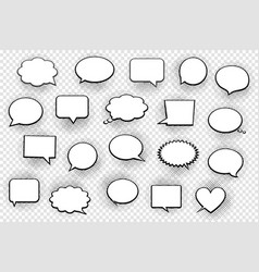 Empty white speech bubbles with halftone shadows vector