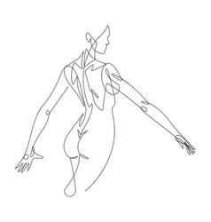 Female figure continuous line graphic vector