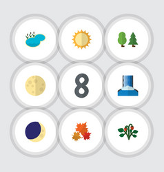 Flat icon bio set of solar cascade lunar and vector
