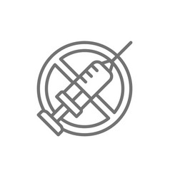 forbidden sign with syringe no vaccination vector image