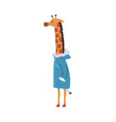 Giraffe wearing warm coat humanized forest animal vector
