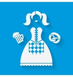 Girl in national dress with beer mug and pretzel vector image