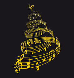 gold christmas card with music tree vector image