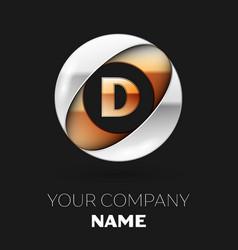 golden letter d logo symbol in the circle shape vector image