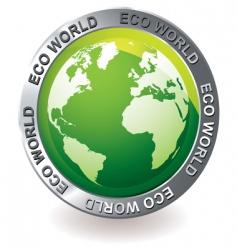 Green icon eco earth globe vector