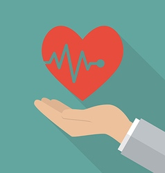 Hand holding heartbeat vector image