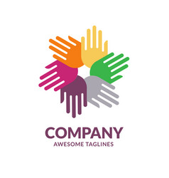 hands color logo vector image