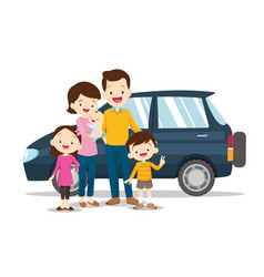 happy family with a car on a white background vector image
