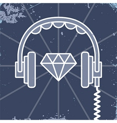 Headphones jewel icon vector image