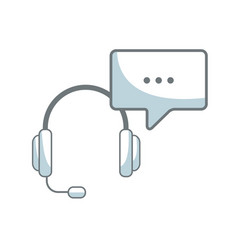 headset with bubble speech service call center vector image