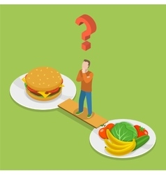 health or junk food isometric vector image