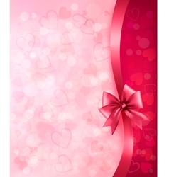 Holiday background with gift pink bow and ribbon vector image