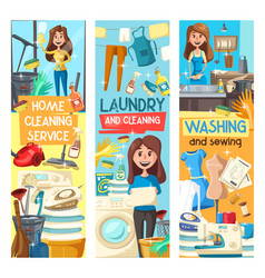 Home cleaning laundry and dish washing service vector