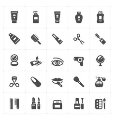 icon set - cosmetic filled icon style vector image
