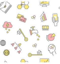 initial coin offering seamless pattern vector image