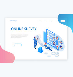 Isometric chat bot and online survey online exam vector