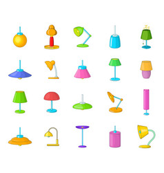 lamp icon set cartoon style vector image