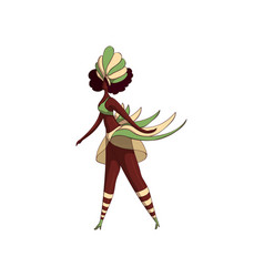 Latino woman in dancing action samba dancer girl vector