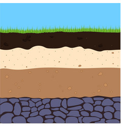 Layers of soil with grass vector