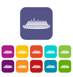 Long ship icons set vector