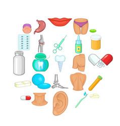man health icons set cartoon style vector image