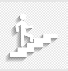 Man on stairs going up white icon with vector