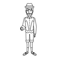Man with custome traditional switzerland culture vector