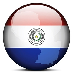 Map on flag button of Republic of Paraguay vector image