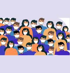 masked people crowds virus protection vector image