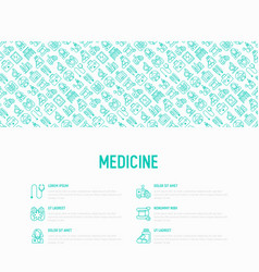 Medicine concept with thin line icons vector