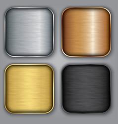 Metal templates set with texture metal button set vector